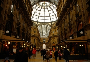 The interior shopping area at Milan's Vittorio Emanuele II Gallery (TK Kuo).