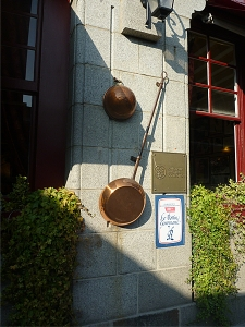 Entrance to Mere Poulard skillet, home to one of the world's most expensive omelets (Annie Li).