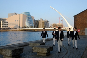 A few of our dancers walking across the River Liffey from our Dublin theater (TK Kuo).