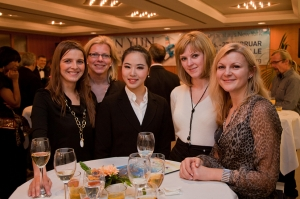 At a post-performance VIP reception on February 26, principal dancer Xiya Li (center) was one of several Shen Yun artists who could be found mingling with audience members. Florence, Italy was Touring Company's second stop.