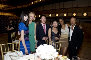 Left to right: Supermodels Simone Kerr and Kathrin Werderitsch, Shen Yun Principal Dancer Tim Wu and other guests.