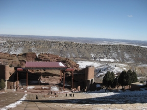 The view from the top of the Red Rocks Amphitheater.