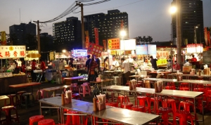 View of a typical Taiwanese night market.