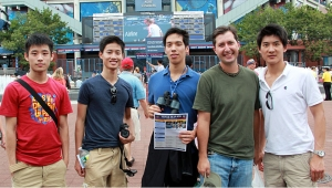 Outside Arthur Ashe Stadium! (L to R) Dancers Jeff Sun, Alvin Song, Patrick Trang, emcee Jared Madsen and dancer Alex Chun. Jeff scores an autograph! Can't go a day without training right? Alvin Song and Jeff Sun stretch during a match. Now we're talking! Alvin jumps above the crowd... Jeff won't be outdone...nice split! Together is always better! Who is higher??? Dancers Patrick Trang, Jeff Sun, Alex Chun, emcee Jared Madsen, dancer Alvin Song. What a day!