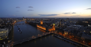 Our last night before going back to the U.S., from atop the London Eye, we were rewarded with this spectacular view as the sun set on our European tour. (TK Kuo)
