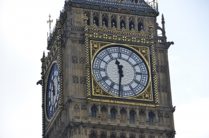 "The Latin inscription at the bottom of the famous tower clock reads ""O Lord, keep safe our Queen Victoria the First."" (Annie Li)"