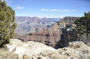 Our first view of the magnificent Grand Canyon. (Annie Li)