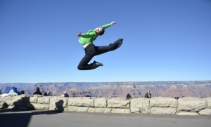 Dancer Miranda Zhou-Galati proves that 4000-something-foot canyons are no match for her superior jumping skills. (Annie Li)