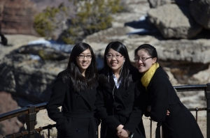 Musicians Nika Zhang, Rachel Chen, and Maria Han pose, undaunted by the thousand-foot drop behind them. (Annie Li)