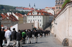 Walking with other performers down the streets of Prague, Czech Republic, 2011. (Sebastien Chun)