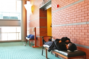 Dancers catching some z's between a matinee and a night show in France, 2010. (Sebastien Chun)
