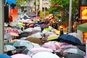 A rainy day in Tokyo's Harajuku district, 2013. (Sebastien Chun)