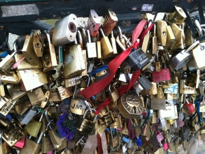 Sweethearts around the world lock in their true love on the quaint bridge next to Notre Dame. There are even locks written in Chinese!