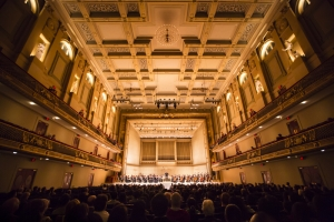 View of the audience and stage at Boston Symphony Hall during the Shen Yun concert, Oct. 9.