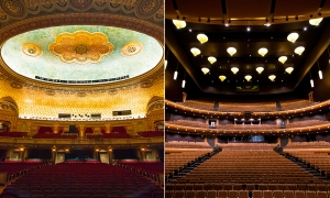 This season, we've performed at venues with both traditional and modern designs. Compare, for example, Knoxville's Tennessee Theater to the left and Memphis' Cannon Center to the right. (TK)