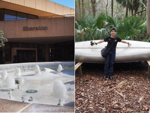 And we've also had our share of weather extremes. In Memphis, we partook in the national chill when temperatures plunged down to single digits in Fahrenheit. Just as we fled from the frostbitten city, we stole a snapshot of this petrified water fountain. But then, we also went to Orlando, FL. Here, we spent a day at Wekiwa Springs, receiving a mild Jurassic-Park-without-the-dinos experience. Dancer Sam Pu. (Gary Liu)