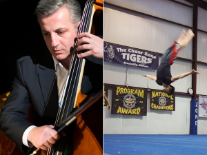 """Practice makes perfect"" - here's a driving philosophy shared by dancers and musicians alike. (Left) Shen Yun double bass player Tigran Voskanyan fine-tunes his articulation, while Principal Dancer Tim Wu (right) takes flight at the Cheer Zone Tigers Gym in Evansville, IN. (Photos by TK [L] and Gary Liu [R])"