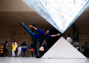 Classical East meets West (or, if you wish, Da Vinci code meets Taoist cosmology - Heaven, Earth and man). Principal Dancer Ben Chen at the Louvre. This shot quickly drew mimicking acts from other museum visitors. So if you've seen this elsewhere, remember Ben Chen has the copyright. The four great philosophers of Greek antiquity: Plato, Aristotle, Socrates, and Steve. (Steve Feng's iPhone)