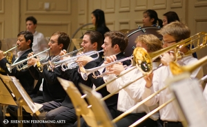 The brass section rehearses at Boston Symphony Hall, Oct. 4.