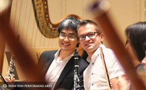 Shen Yun clarinet players Yuen-suo Yang (left) and Yevgeniy Reznik before the season premiere concert in Boston, Oct. 4.