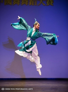 "Danny Li, gold winner of the male youth division, performs ""Touring The Sacred Country"" at the International Classical Chinese Dance Competition in New York."