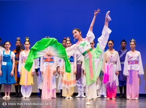 The International Classical Chinese Dance Competition finalists on stage at BMCC Tribeca Performing Arts Center in New York last month.