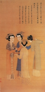 Former Shu Dynasty painting: A depiction of court ladies by painter Tang Yin (1470-1524). Note the elaborate decorations on the ladies' hair, in comparison to the more modest styles of their servants. These were probably married women of a large household.