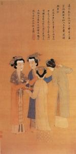 前蜀時代の絵画:唐寅(とういん、1470年~1523年)による宮廷の淑女。控えめなスタイルの召使いに比べ、髪を飾り立てているのが分かる。大きな屋敷の既婚女性と見られる。