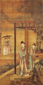 한껏 맵시를 낸 젊은 여성들이 궁궐에서 즐거운 한때를 보내고 있다. 보요(步搖)는 고대 중국에서 유행하던 머리장식. 다양한 재료와 갖가지 보석으로 만드는 보요는 걸을 때마다 흔들리며 여성에게 우아한 자태를 더했다.