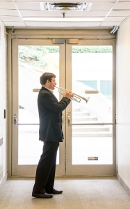 Eric Robins warms up on the trumpet. The stage is set and ready to go for opening night.