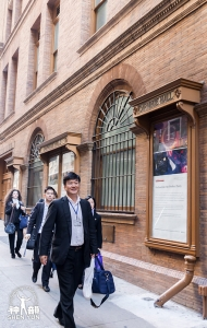 And now we've arrived at Carnegie Hall. Bassist Wei Liu leads the way as we head to the stage door.