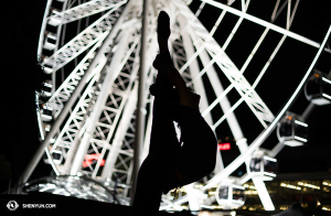 Principal Dancer Lily Wang in front of the Brisbane Wheel. (photo by dancer Stephanie Guo)