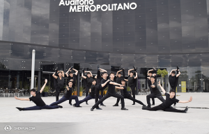 Shen Yun Touring Company's male dancers in front of Metropolitan Auditorium in Puebla, Mexico. (photo by dancer Pierre Huang)