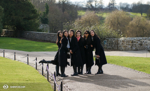 From left: Dancers Linjie Huang, Diana Teng, Daoyong Zheng, Miranda Zhou-Galati, Olivia Chang, and Connie Kuang relish their time at the lovely Leeds Castle. (photo by projectionist Annie Li)