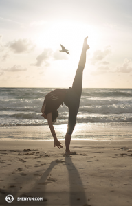 """La bailarina Emily Pan realiza un movimiento de danza clásica china denominado """"patear a un ganso salvaje"""" (踹雁). La gaviota no sufrió ningún daño… (Foto de la bailarina Stephanie Guo)"""