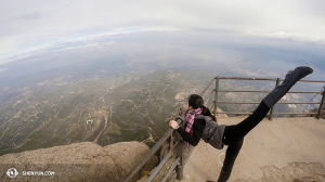 Outside Barcelona, Shen Yun International Company peaked at the view from Montserrat mountain. Dancer: Chunqiao Cai. (photo by projectionist Annie Li)