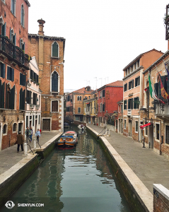 View from one of 409 bridges in Venice. (photo by projectionist Annie Li)
