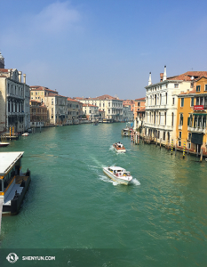 This is taken in Venice's Dorsodoro borough from the Ponte dell'Accademia bridge. (photo by projectionist Annie Li)