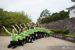 Shen Yun World Company dancers in front of the Nagoya Castle in Nagoya, Japan.