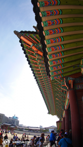 Under the eaves in Gyeongbokgung Palace. The palace was built in the style of ancient Chinese architecture; traditional Chinese culture is very much revered in Korea but, ironically, a performance of traditional Chinese culture is canceled - and that because of the Chinese Embassy. (photo by dancer Ben Chen)