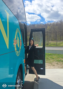Principal Dancer Chelsea Cai with the last wave goodbye before getting on the bus. (photo by projectionist Annie Li)