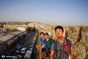 And crossed over to Israel, where they took a walk on the ramparts of Old Jerusalem.