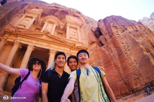 And on to Jordan's ancient city of Petra where they met a young lady who was the only other tourist there that day.