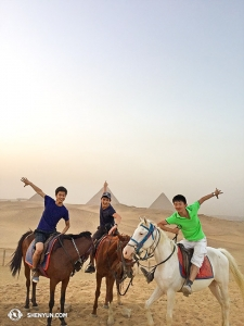 Possibly the most adventurous of Shen Yun's vacationers, dancers (from left) Alvin Song, Alex Chun, and Ben Chen journeyed to the Middle East, starting with Egypt's Pyramids of Giza.