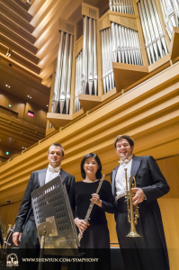 From left: Principal clarinet, flute, and trumpet players Yevgeniy Reznik, Chia-Jung Lee, and Eric Robins. (photo by TK Kuo)