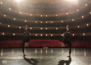 Principal Dancer Olivia Chang (L) and dancer Yuting Chang warm up Sunday before this season's final performance at Lincoln Center.  (Photo by Annie Li)
