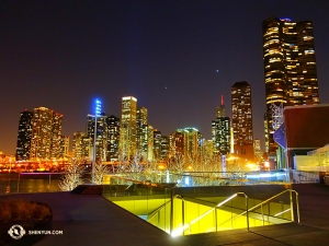 Part of the Chicago skyline viewed from the area near the theater and Millennium Park. (Photo by dancer Jun Liang)