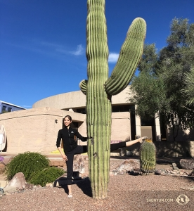 Real extra stretching. Dancer Hannah Rao and the cactus. (Photo by Annie Li)