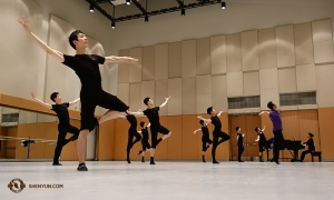In Toronto, Steve Feng (foreground) and Shen Yun World Company dancers train in the rehearsal room. (Photo by dancer Jeff Chuang)