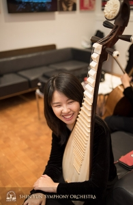 Pipa player Yuru Chen spending quality time with her instrument.
